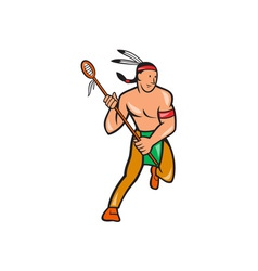 Native american lacrosse player cartoon vector