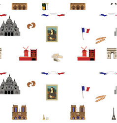 Paris seamless pattern hand-drawn landmarks vector