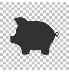 Pig money bank sign dark gray icon on transparent vector