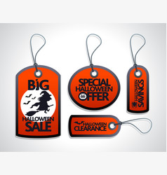 Red halloween sale tags set vector