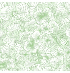 Seamless flower line art pattern vector image vector image