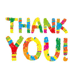 thank you color abstract lettering vector image vector image