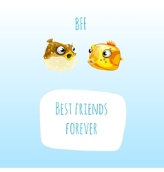 Two best friends fish with frame for text vector