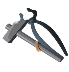 Two working tool tongs and hammer isolated vector