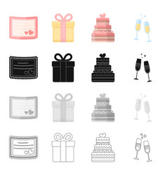 Wedding celebration attributes and other web vector