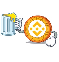 With juice binance coin mascot catoon vector