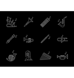 Woodwind music white line icons set vector