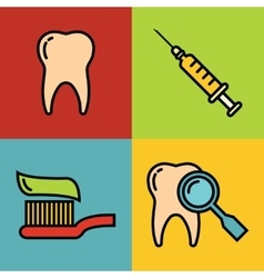 Dentistry medical cartoon icons on color vector