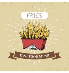 French fries fast food in vector image