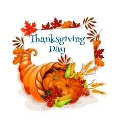 Thanksgiving day cornucopia greeting card vector