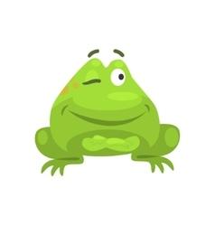 Smug Winking Green Frog Funny Character Childish vector image