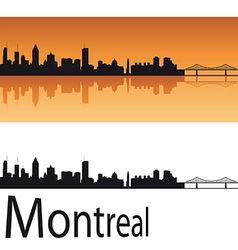 Montreal skyline in orange background vector image