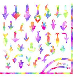 set of colorful watercolor arrows vector image