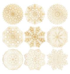 Set of 9 hand-drawn arabic mandala on white vector