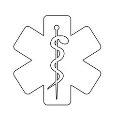 Silhouette with health symbol with star of life vector