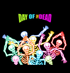 Day of the dead multicolored skeleton color skull vector