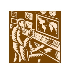 Control room command center headquarter woodcut vector
