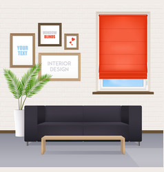 Room interior with furniture and window blinds vector