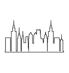 City panoramic skyline view urban architectural vector