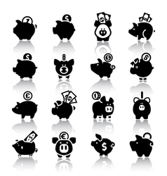 Piggy bank set16 with reflection vector image