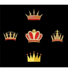 Gold and red crown set of crowns isolated vector