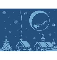 Village in christmas night vector