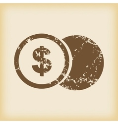 Grungy dollar coin icon vector