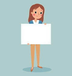 Young brunette girl holding blank sign vector