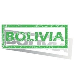Green outlined bolivia stamp vector