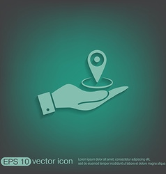Hand holding a pin location on the map vector