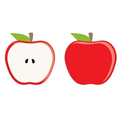 Red apple whole and half vector