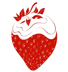 Strawberry with whipped cream vector