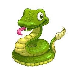 Funny cartoon smiling green snake vector image