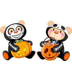 Halloween teddy bears vector