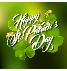 Patrick day lettering greeting card or background vector