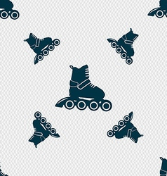 Roller skate icon sign seamless pattern with vector