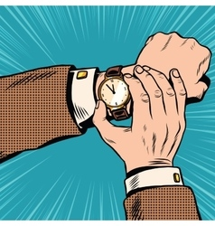 Wrist watch retro pop art vector image