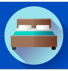 Hotel double bed icon flat style vector