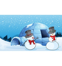 an igloo and snowmen vector image