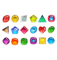 Big collection of colorful valuable stones in vector