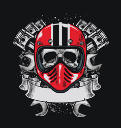 biker skull with blank ribbon for text vector image vector image