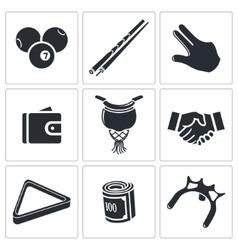 Billiard icons set vector