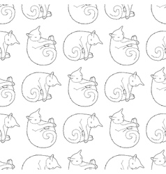 Black and white seamless pattern with cat vector