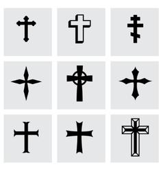 black crosses icon set vector image vector image
