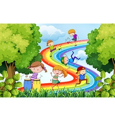 Children and rainbow vector image vector image