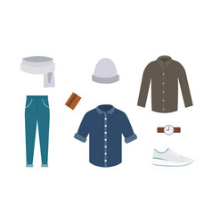 collection of various wear and shoes for cold vector image vector image