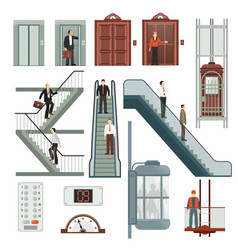 elevator and stairs set vector image