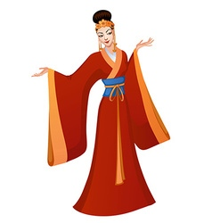 Ethnic dance of cartoon Chinese princess vector image vector image