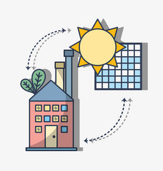 Factory with solar energy with leaves vector