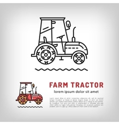 Farm tractor cab icon line art style isolated vector